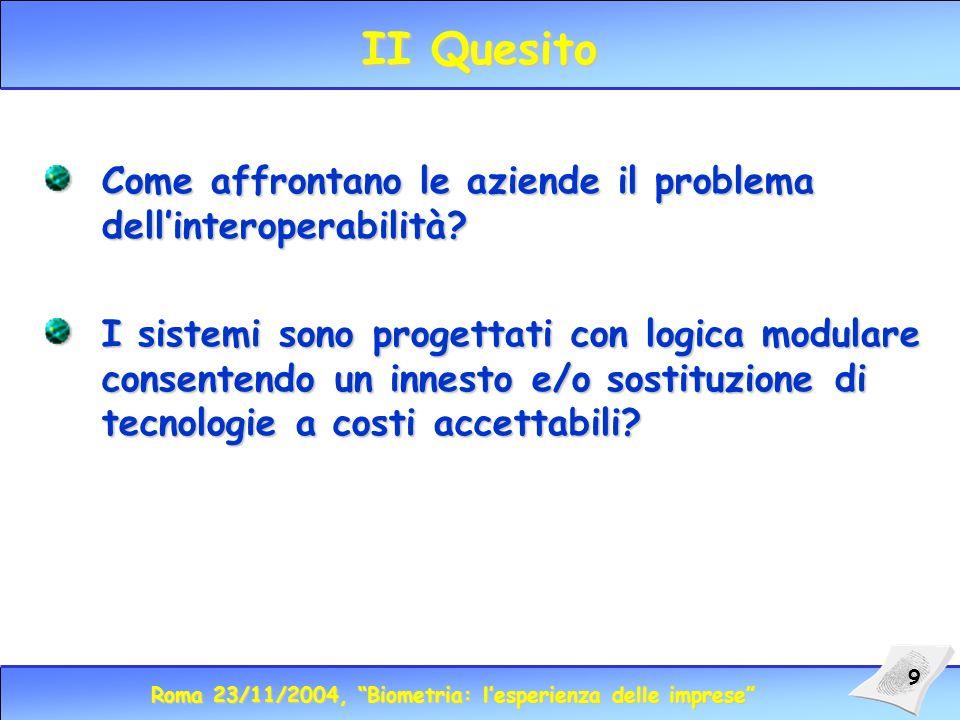 Roma 23/11/2004, Biometria: lesperienza delle imprese 9 II Quesito Come affrontano le aziende il problema dellinteroperabilità.