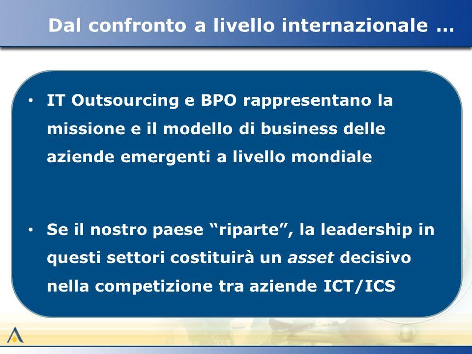 IT Outsourcing e BPO rappresentano la missione e il modello di business delle aziende emergenti a livello mondiale Se il nostro paese riparte, la leadership in questi settori costituirà un asset decisivo nella competizione tra aziende ICT/ICS Dal confronto a livello internazionale …