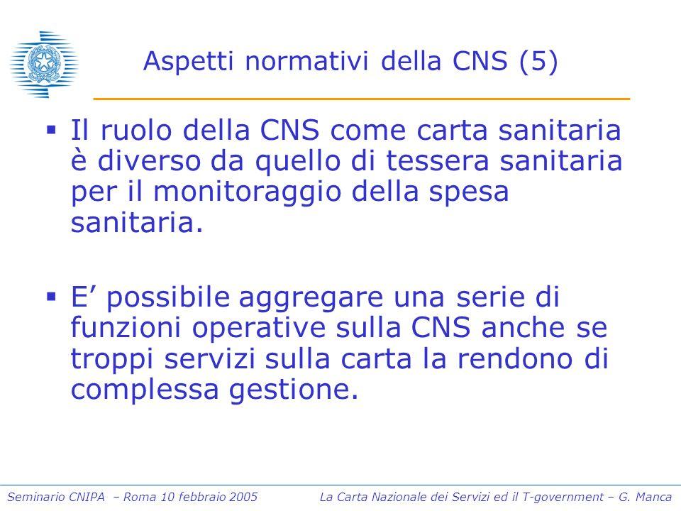 Seminario CNIPA – Roma 10 febbraio 2005 La Carta Nazionale dei Servizi ed il T-government – G. Manca Aspetti normativi della CNS (5) Il ruolo della CN