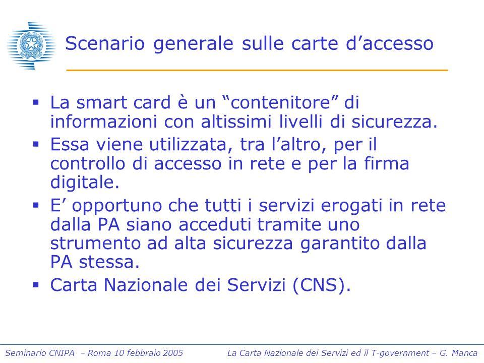 Seminario CNIPA – Roma 10 febbraio 2005 La Carta Nazionale dei Servizi ed il T-government – G. Manca Scenario generale sulle carte daccesso La smart c