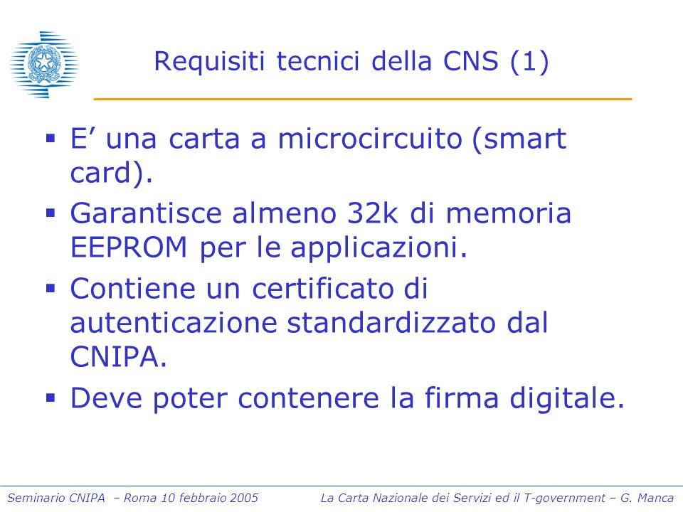 Seminario CNIPA – Roma 10 febbraio 2005 La Carta Nazionale dei Servizi ed il T-government – G. Manca Requisiti tecnici della CNS (1) E una carta a mic