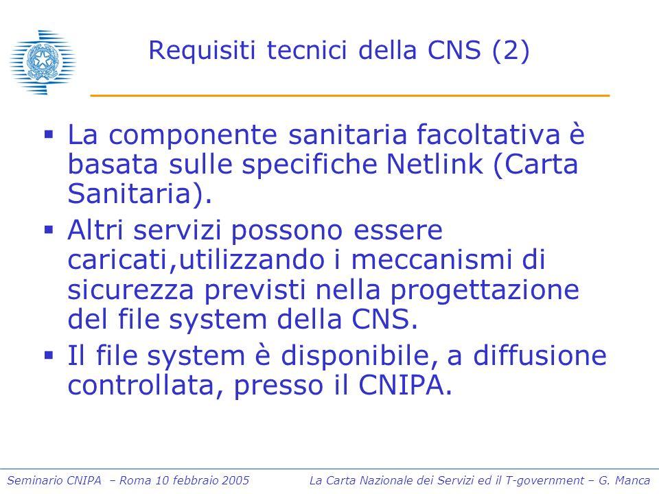 Seminario CNIPA – Roma 10 febbraio 2005 La Carta Nazionale dei Servizi ed il T-government – G. Manca Requisiti tecnici della CNS (2) La componente san