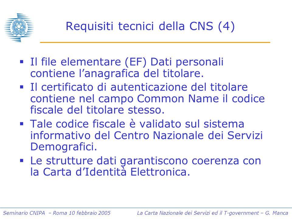 Seminario CNIPA – Roma 10 febbraio 2005 La Carta Nazionale dei Servizi ed il T-government – G. Manca Requisiti tecnici della CNS (4) Il file elementar