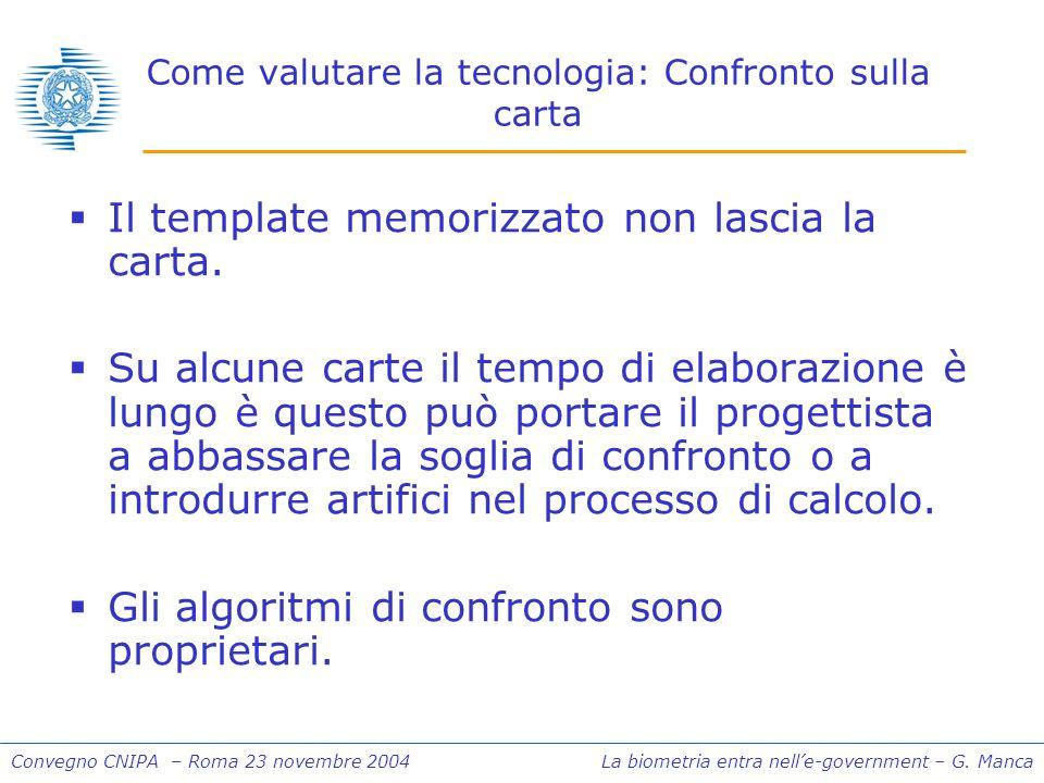 Convegno CNIPA – Roma 23 novembre 2004 La biometria entra nelle-government – G.