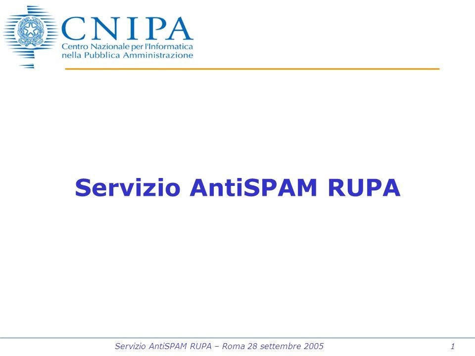 Servizio AntiSPAM RUPA – Roma 28 settembre 2005 1 Servizio AntiSPAM RUPA