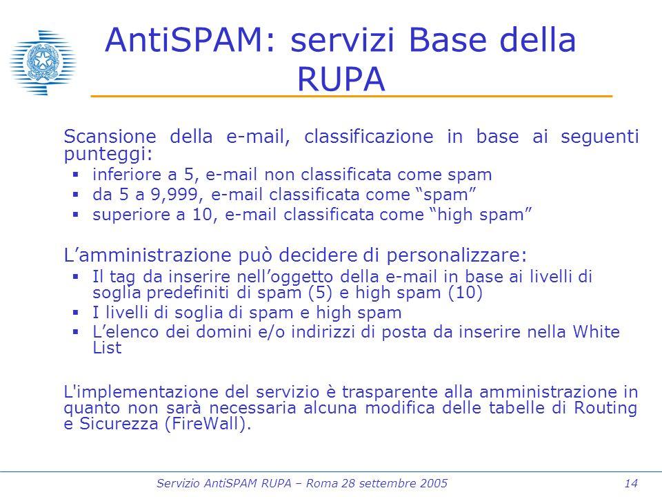 Servizio AntiSPAM RUPA – Roma 28 settembre 2005 14 AntiSPAM: servizi Base della RUPA Scansione della e-mail, classificazione in base ai seguenti punteggi: inferiore a 5, e-mail non classificata come spam da 5 a 9,999, e-mail classificata come spam superiore a 10, e-mail classificata come high spam Lamministrazione può decidere di personalizzare: Il tag da inserire nelloggetto della e-mail in base ai livelli di soglia predefiniti di spam (5) e high spam (10) I livelli di soglia di spam e high spam Lelenco dei domini e/o indirizzi di posta da inserire nella White List L implementazione del servizio è trasparente alla amministrazione in quanto non sarà necessaria alcuna modifica delle tabelle di Routing e Sicurezza (FireWall).