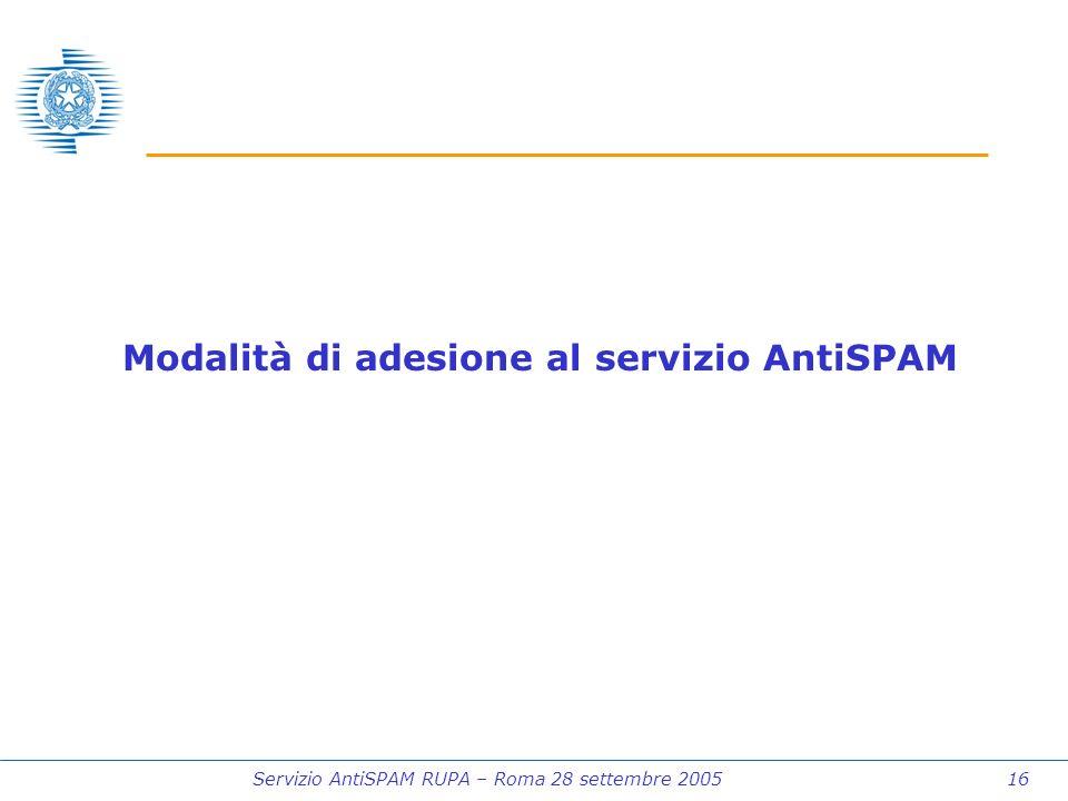 Servizio AntiSPAM RUPA – Roma 28 settembre 2005 16 Modalità di adesione al servizio AntiSPAM
