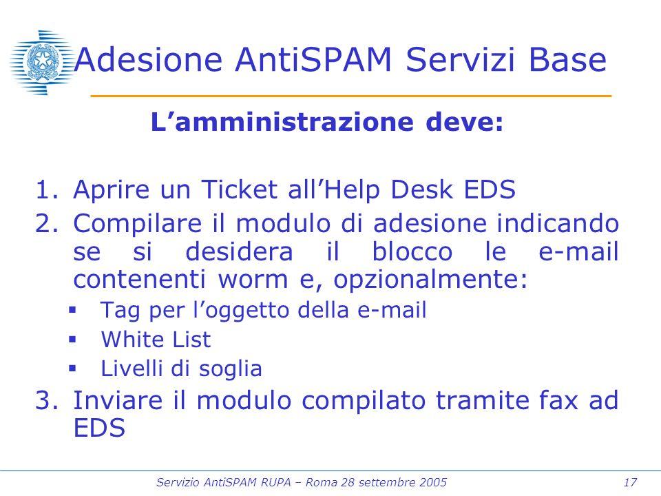 Servizio AntiSPAM RUPA – Roma 28 settembre 2005 17 Adesione AntiSPAM Servizi Base Lamministrazione deve: 1.Aprire un Ticket allHelp Desk EDS 2.Compilare il modulo di adesione indicando se si desidera il blocco le e-mail contenenti worm e, opzionalmente: Tag per loggetto della e-mail White List Livelli di soglia 3.Inviare il modulo compilato tramite fax ad EDS