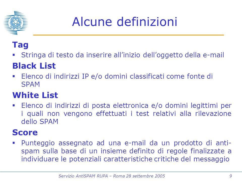 Servizio AntiSPAM RUPA – Roma 28 settembre 2005 9 Alcune definizioni Tag Stringa di testo da inserire allinizio delloggetto della e-mail Black List Elenco di indirizzi IP e/o domini classificati come fonte di SPAM White List Elenco di indirizzi di posta elettronica e/o domini legittimi per i quali non vengono effettuati i test relativi alla rilevazione dello SPAM Score Punteggio assegnato ad una e-mail da un prodotto di anti- spam sulla base di un insieme definito di regole finalizzate a individuare le potenziali caratteristiche critiche del messaggio