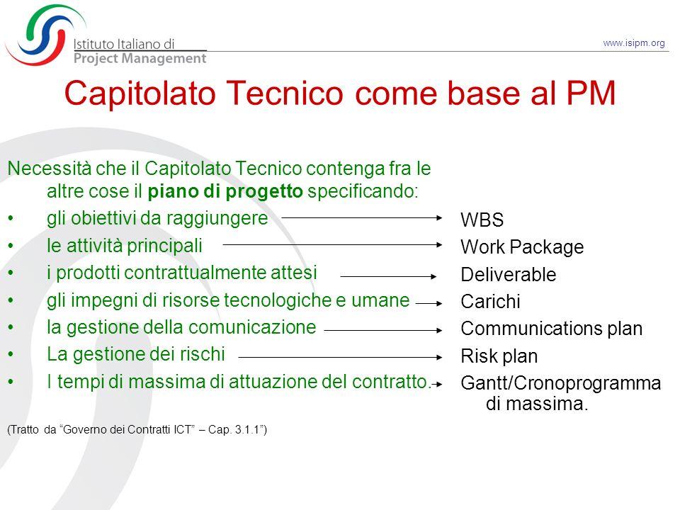 www.isipm.org Capitolato Tecnico come base al PM Necessità che il Capitolato Tecnico contenga fra le altre cose il piano di progetto specificando: gli