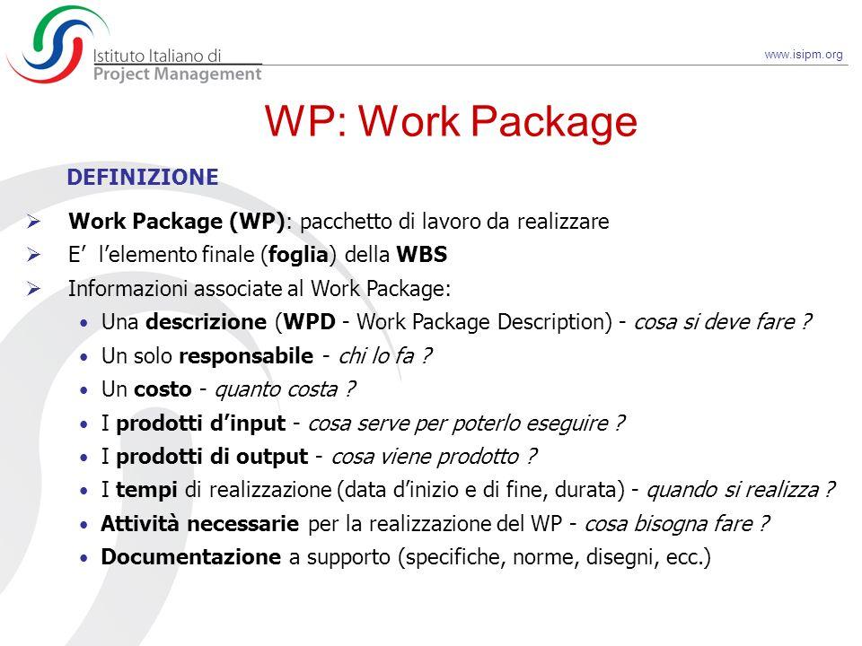 www.isipm.org Work Package (WP): pacchetto di lavoro da realizzare E lelemento finale (foglia) della WBS Informazioni associate al Work Package: Una d