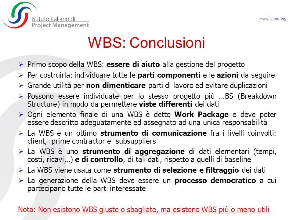 www.isipm.org Primo scopo della WBS: essere di aiuto alla gestione del progetto Per costruirla: individuare tutte le parti componenti e le azioni da s