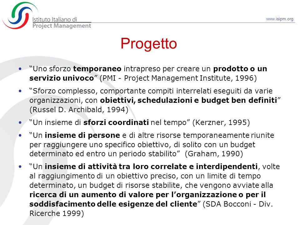 www.isipm.org Progetto Uno sforzo temporaneo intrapreso per creare un prodotto o un servizio univoco (PMI - Project Management Institute, 1996) Sforzo