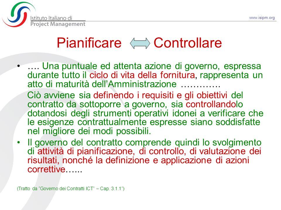 www.isipm.org Pianificare Controllare …. Una puntuale ed attenta azione di governo, espressa durante tutto il ciclo di vita della fornitura, rappresen