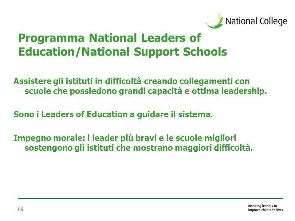 16 Programma National Leaders of Education/National Support Schools Assistere gli istituti in difficoltà creando collegamenti con scuole che possiedon