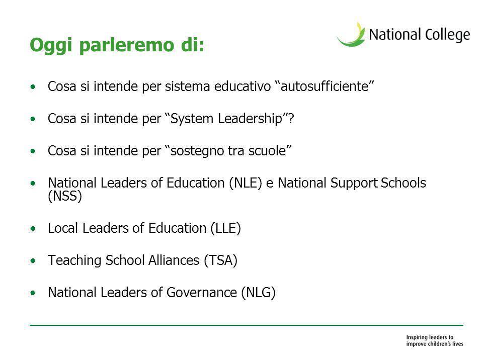 Oggi parleremo di: Cosa si intende per sistema educativo autosufficiente Cosa si intende per System Leadership? Cosa si intende per sostegno tra scuol
