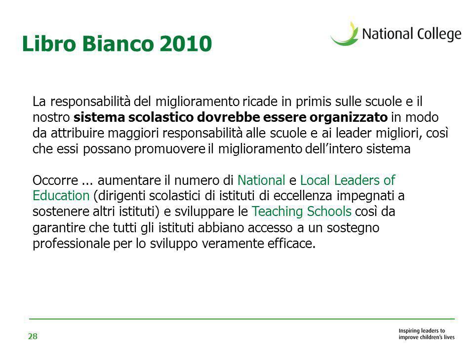 28 La responsabilità del miglioramento ricade in primis sulle scuole e il nostro sistema scolastico dovrebbe essere organizzato in modo da attribuire