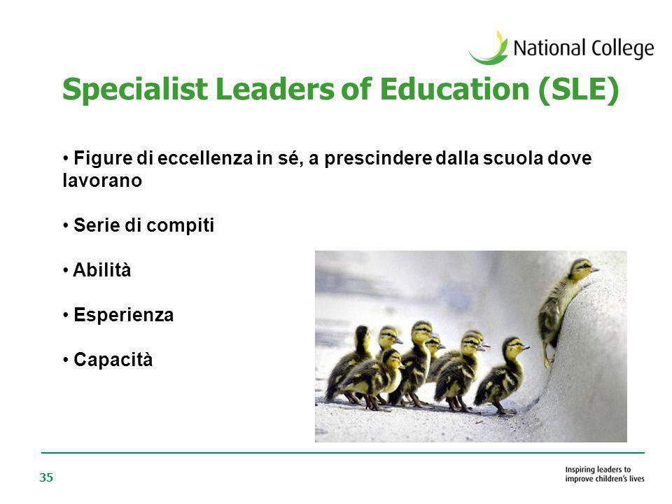 35 Specialist Leaders of Education (SLE) Figure di eccellenza in sé, a prescindere dalla scuola dove lavorano Serie di compiti Abilità Esperienza Capa