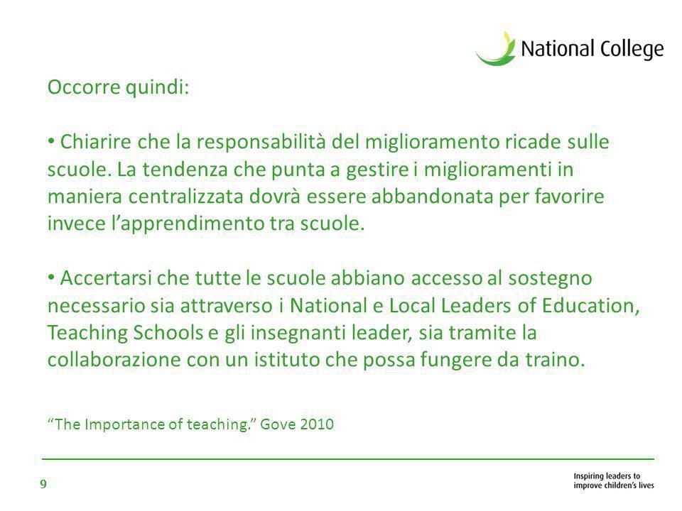 9 Occorre quindi: Chiarire che la responsabilità del miglioramento ricade sulle scuole. La tendenza che punta a gestire i miglioramenti in maniera cen