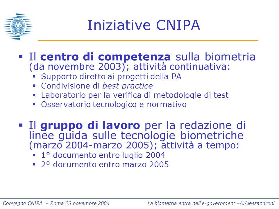 Convegno CNIPA – Roma 23 novembre 2004 La biometria entra nelle-government –A.Alessandroni Il centro di competenza sulla biometria (da novembre 2003);