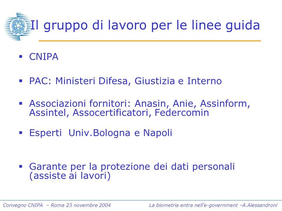 Convegno CNIPA – Roma 23 novembre 2004 La biometria entra nelle-government –A.Alessandroni Il gruppo di lavoro per le linee guida CNIPA PAC: Ministeri