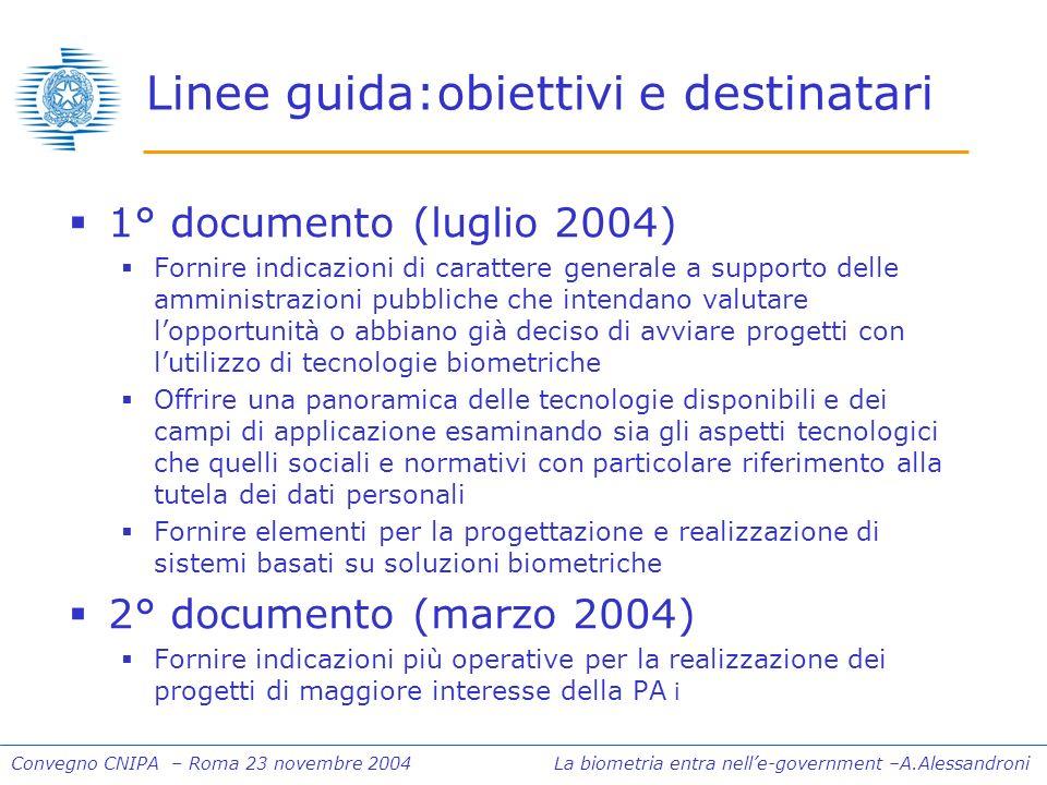 Convegno CNIPA – Roma 23 novembre 2004 La biometria entra nelle-government –A.Alessandroni Linee guida:obiettivi e destinatari 1° documento (luglio 20