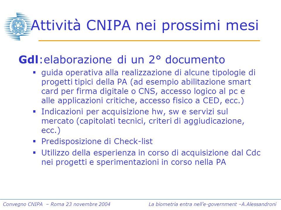 Convegno CNIPA – Roma 23 novembre 2004 La biometria entra nelle-government –A.Alessandroni Attività CNIPA nei prossimi mesi Gdl:elaborazione di un 2°
