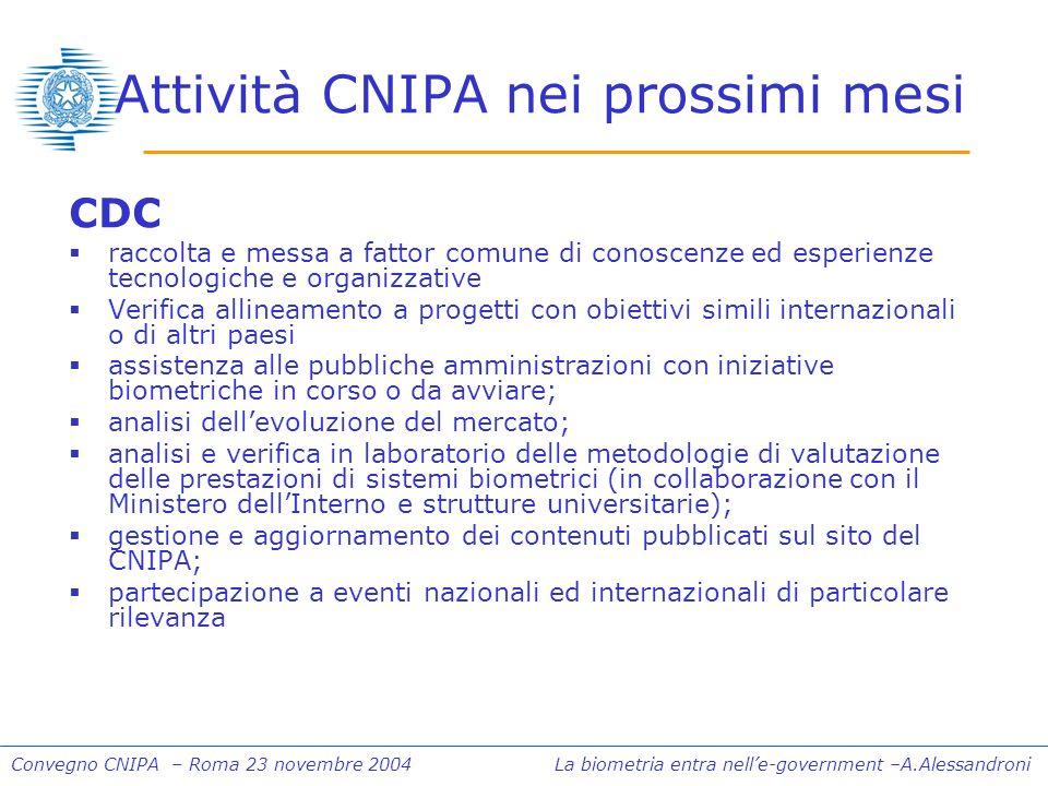 Convegno CNIPA – Roma 23 novembre 2004 La biometria entra nelle-government –A.Alessandroni Attività CNIPA nei prossimi mesi CDC raccolta e messa a fat