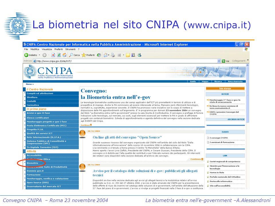Convegno CNIPA – Roma 23 novembre 2004 La biometria entra nelle-government –A.Alessandroni La biometria nel sito CNIPA (www.cnipa.it)