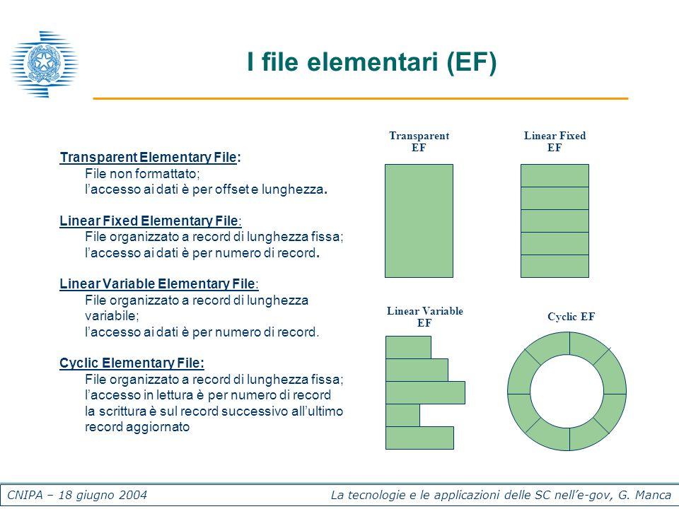 CNIPA – 18 giugno 2004 La tecnologie e le applicazioni delle SC nelle-gov, G. Manca I file elementari (EF) Transparent Elementary File: l File non for