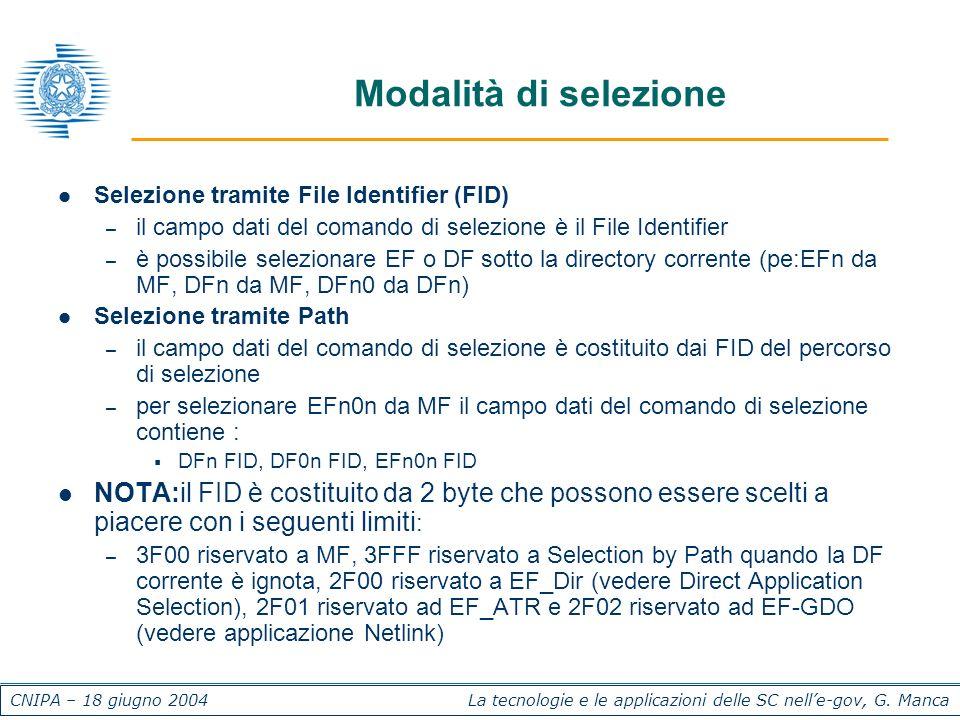 CNIPA – 18 giugno 2004 La tecnologie e le applicazioni delle SC nelle-gov, G. Manca Modalità di selezione Selezione tramite File Identifier (FID) – il