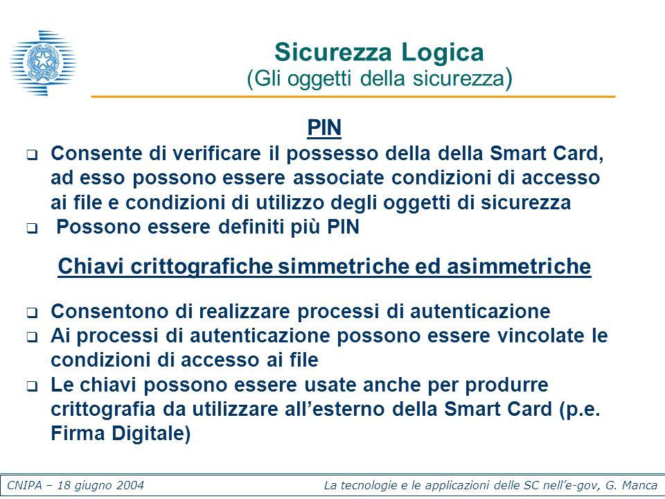 CNIPA – 18 giugno 2004 La tecnologie e le applicazioni delle SC nelle-gov, G. Manca Sicurezza Logica (Gli oggetti della sicurezza ) PIN Consente di ve