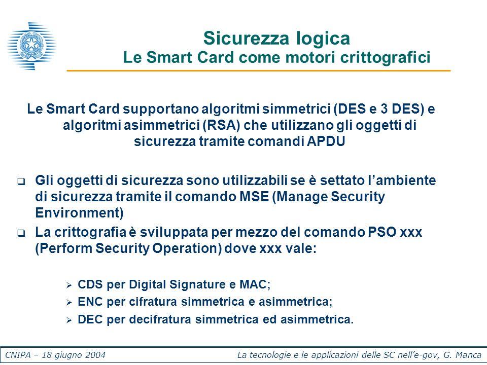 CNIPA – 18 giugno 2004 La tecnologie e le applicazioni delle SC nelle-gov, G. Manca Sicurezza logica Le Smart Card come motori crittografici Le Smart
