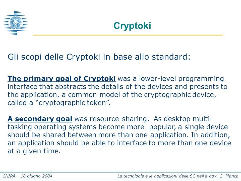 CNIPA – 18 giugno 2004 La tecnologie e le applicazioni delle SC nelle-gov, G. Manca Cryptoki Gli scopi delle Cryptoki in base allo standard: The prima