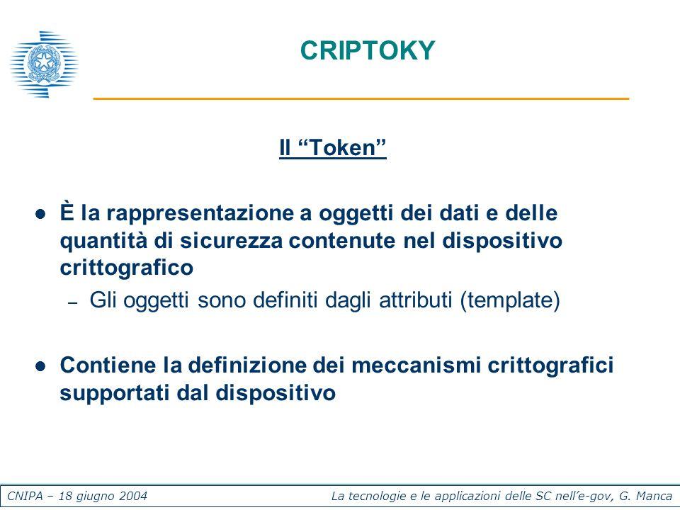 CNIPA – 18 giugno 2004 La tecnologie e le applicazioni delle SC nelle-gov, G. Manca CRIPTOKY Il Token È la rappresentazione a oggetti dei dati e delle