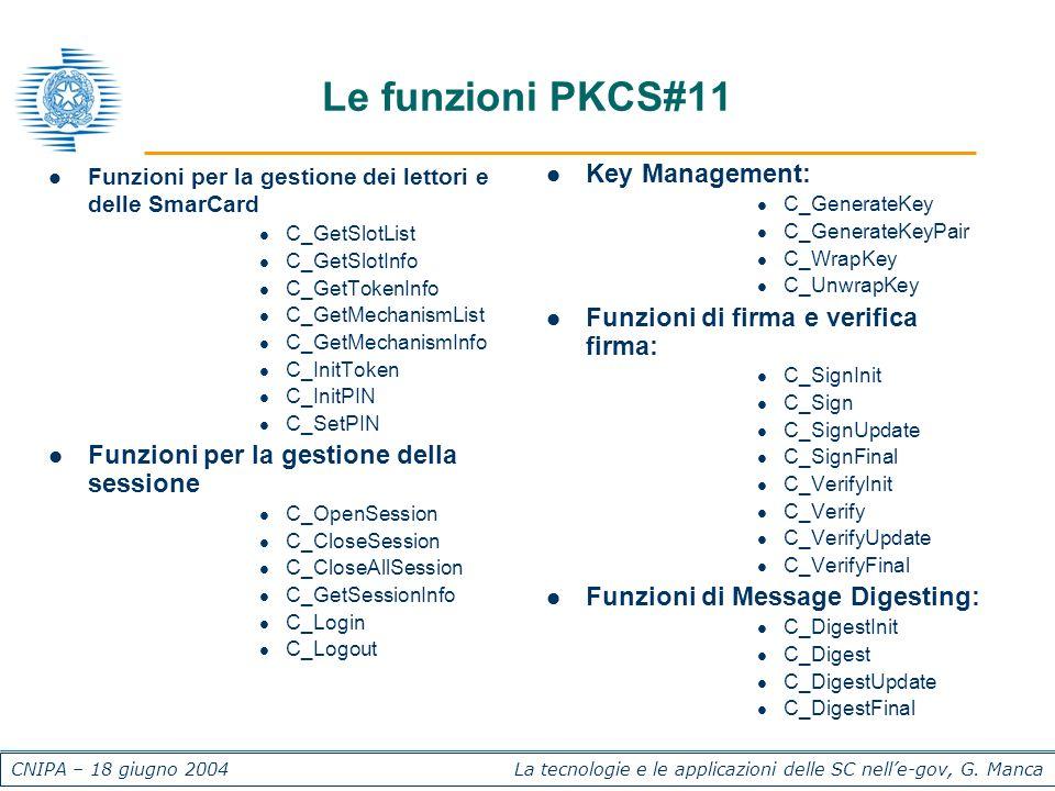 CNIPA – 18 giugno 2004 La tecnologie e le applicazioni delle SC nelle-gov, G. Manca Le funzioni PKCS#11 Funzioni per la gestione dei lettori e delle S