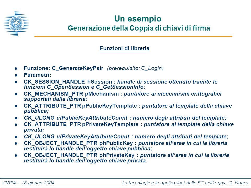 CNIPA – 18 giugno 2004 La tecnologie e le applicazioni delle SC nelle-gov, G. Manca Un esempio Generazione della Coppia di chiavi di firma Funzioni di
