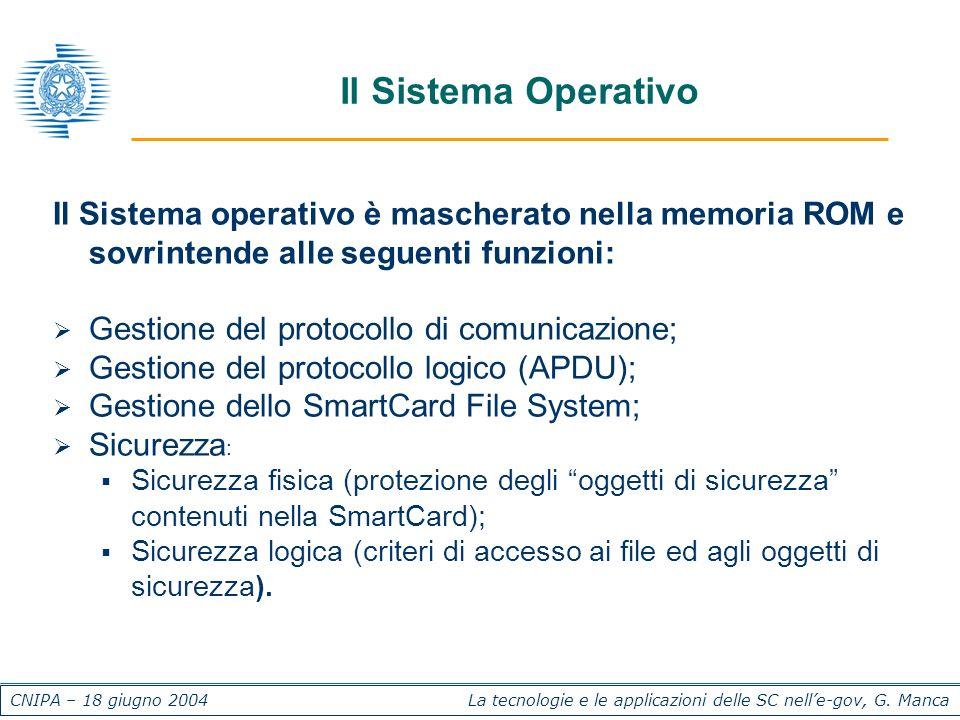 CNIPA – 18 giugno 2004 La tecnologie e le applicazioni delle SC nelle-gov, G. Manca Il Sistema Operativo Il Sistema operativo è mascherato nella memor