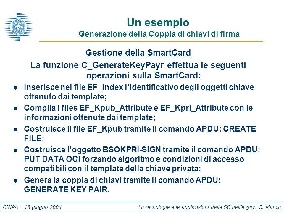 CNIPA – 18 giugno 2004 La tecnologie e le applicazioni delle SC nelle-gov, G. Manca Un esempio Generazione della Coppia di chiavi di firma Gestione de