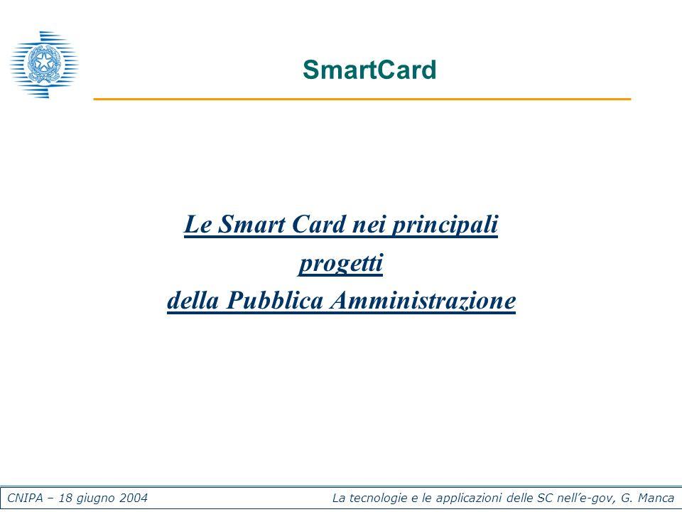 CNIPA – 18 giugno 2004 La tecnologie e le applicazioni delle SC nelle-gov, G. Manca SmartCard Le Smart Card nei principali progetti della Pubblica Amm