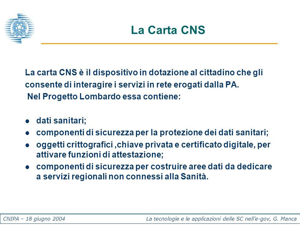 CNIPA – 18 giugno 2004 La tecnologie e le applicazioni delle SC nelle-gov, G. Manca La Carta CNS La carta CNS è il dispositivo in dotazione al cittadi