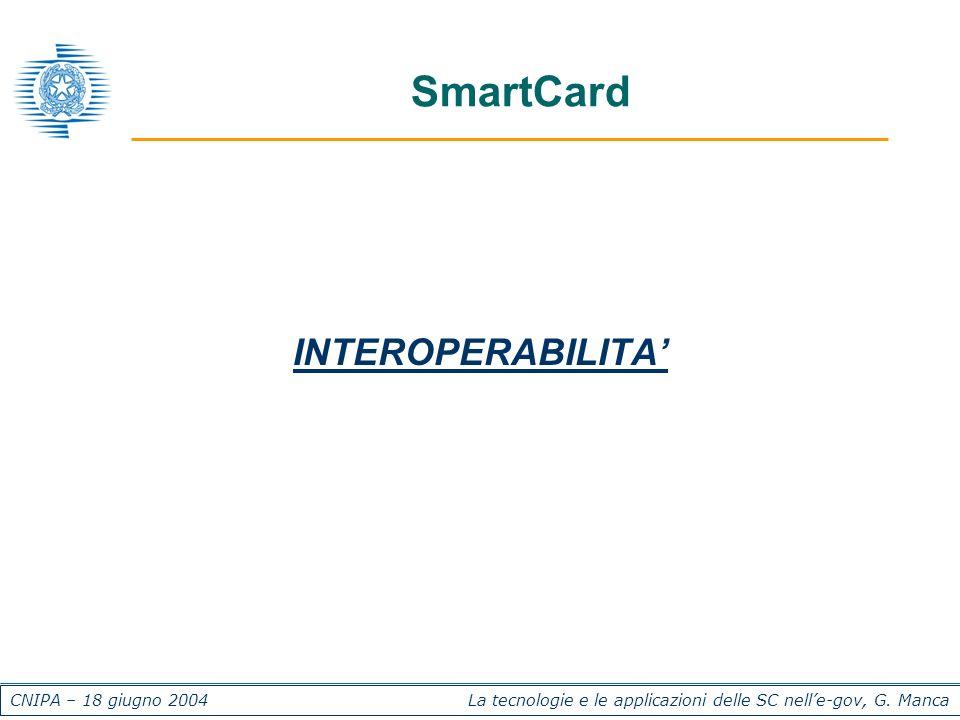 CNIPA – 18 giugno 2004 La tecnologie e le applicazioni delle SC nelle-gov, G. Manca SmartCard INTEROPERABILITA