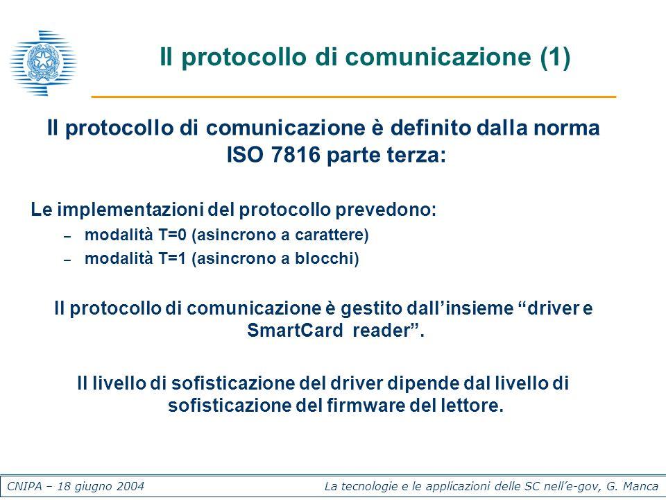 CNIPA – 18 giugno 2004 La tecnologie e le applicazioni delle SC nelle-gov, G. Manca Il protocollo di comunicazione (1) Il protocollo di comunicazione
