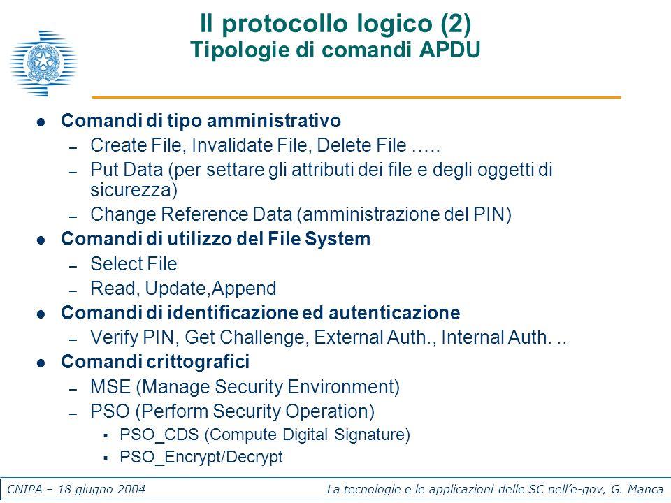 CNIPA – 18 giugno 2004 La tecnologie e le applicazioni delle SC nelle-gov, G. Manca Il protocollo logico (2) Tipologie di comandi APDU Comandi di tipo