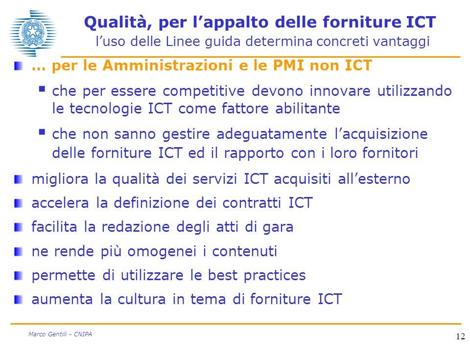 12 Marco Gentili - CNIPA Qualità, per lappalto delle forniture ICT luso delle Linee guida determina concreti vantaggi … per le Amministrazioni e le PM