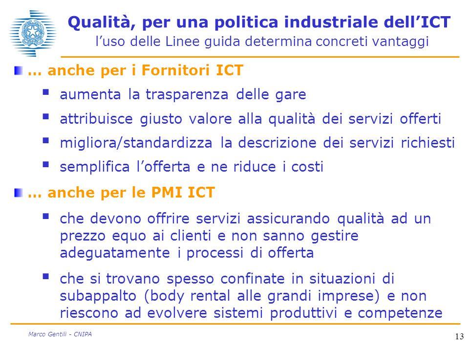 13 Marco Gentili - CNIPA Qualità, per una politica industriale dellICT luso delle Linee guida determina concreti vantaggi … anche per i Fornitori ICT