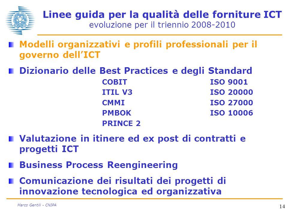 14 Marco Gentili - CNIPA Linee guida per la qualità delle forniture ICT evoluzione per il triennio 2008-2010 Modelli organizzativi e profili professio