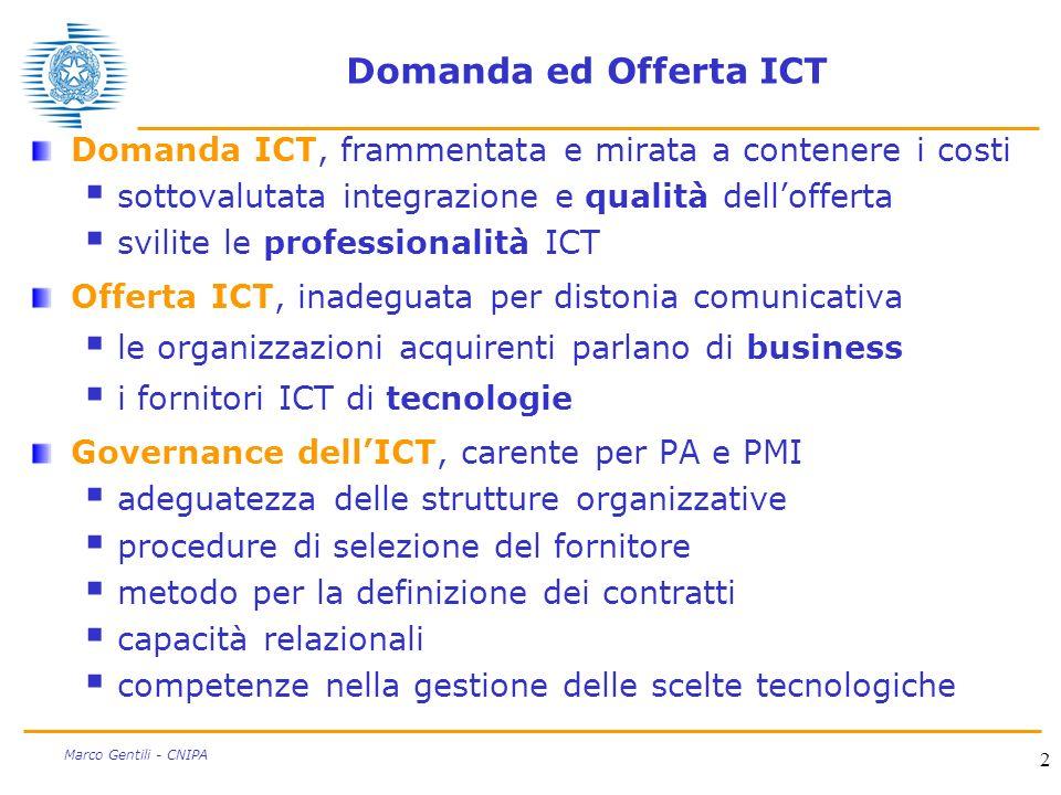 2 Marco Gentili - CNIPA Domanda ed Offerta ICT Domanda ICT, frammentata e mirata a contenere i costi sottovalutata integrazione e qualità dellofferta