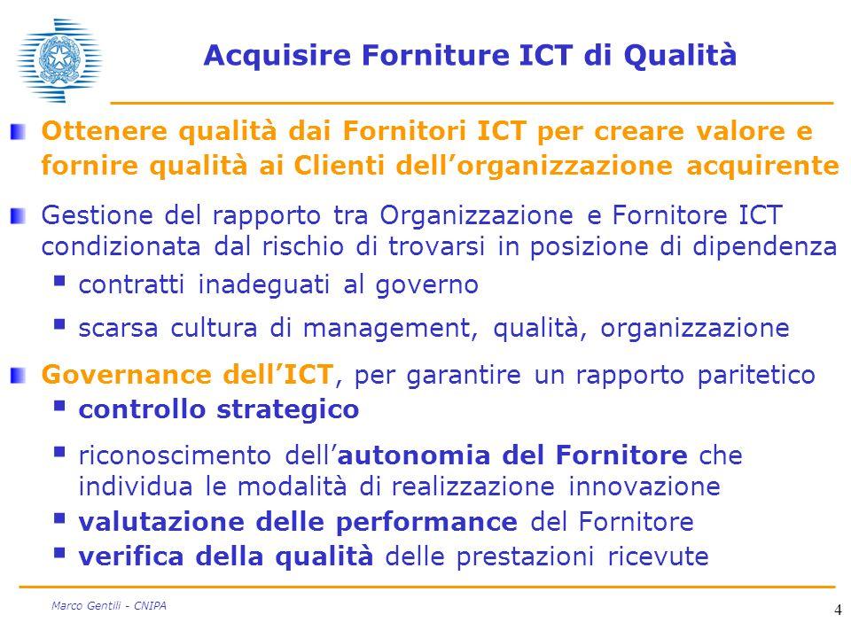 4 Marco Gentili - CNIPA Acquisire Forniture ICT di Qualità Ottenere qualità dai Fornitori ICT per creare valore e fornire qualità ai Clienti dellorgan