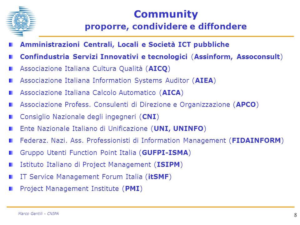 8 Marco Gentili - CNIPA Community proporre, condividere e diffondere Amministrazioni Centrali, Locali e Società ICT pubbliche Confindustria Servizi In
